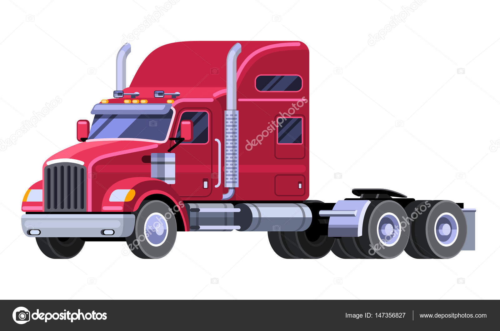 1600x1060 Classic Tractor Truck With Sleeper Cab And Fifth Wheel. Simple