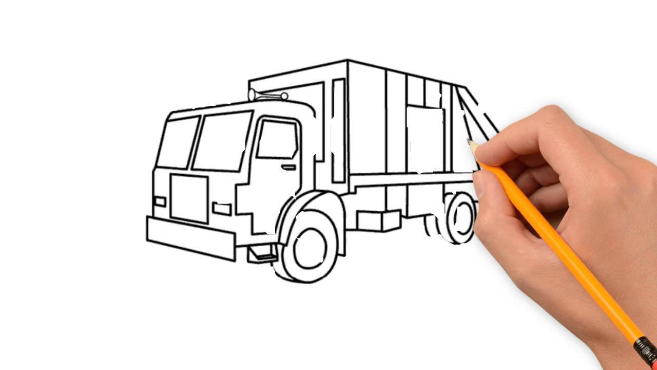 1280x720 Simple Pencil Drawings For Truck Garbage Truck Transport Pencil