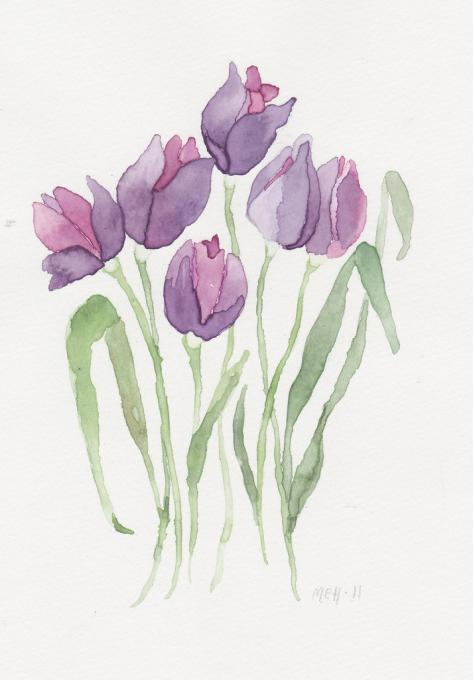 473x680 Purple Tulips. Flowers. Drawings. Pictures. Drawings Ideas