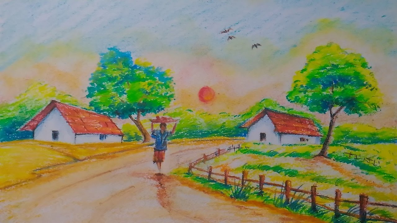 1280x720 Village Scenery Drawing For Kids In Simple Steps