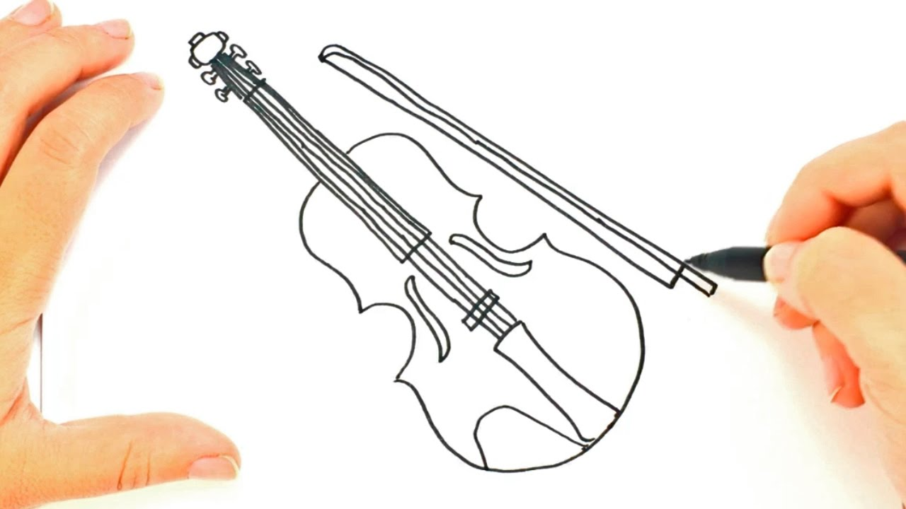 1280x720 How To Draw A Violin Violin Easy Draw Tutorial