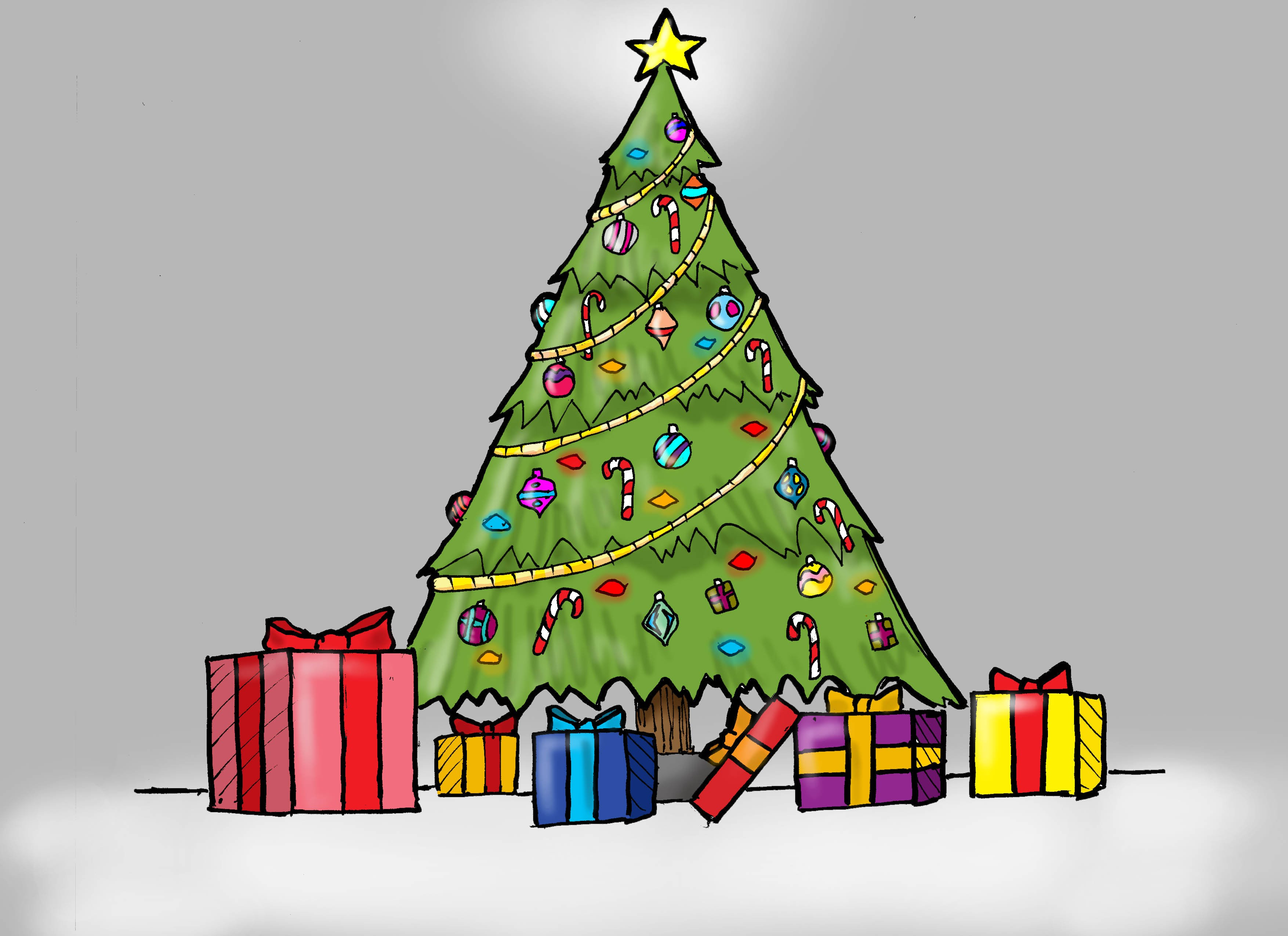 3509x2550 how to draw a christmas tree with presents for kids - Simple Christmas Tree