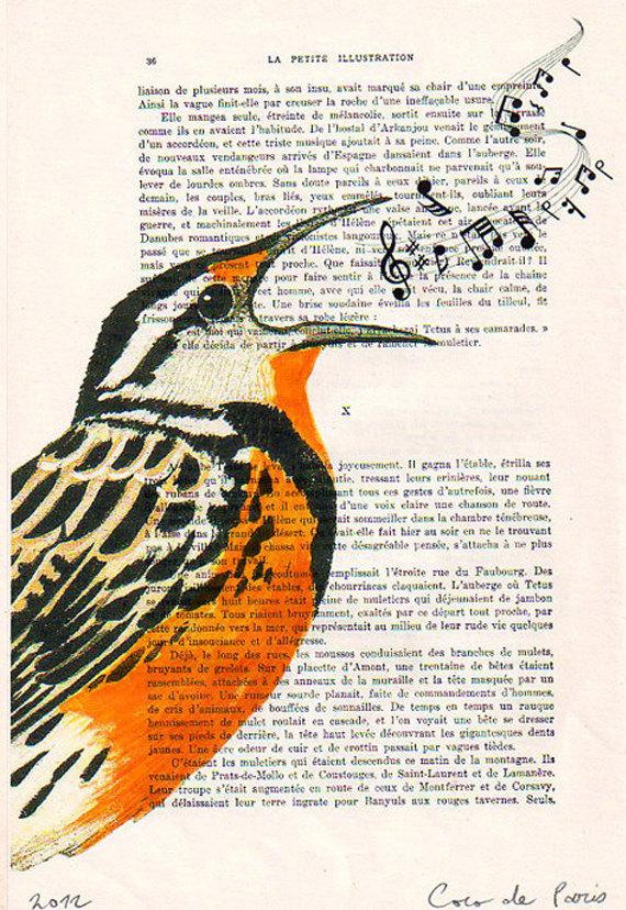 570x828 Bird Painting, Bird Print, Bird Poster, Singing Bird Mixed Media
