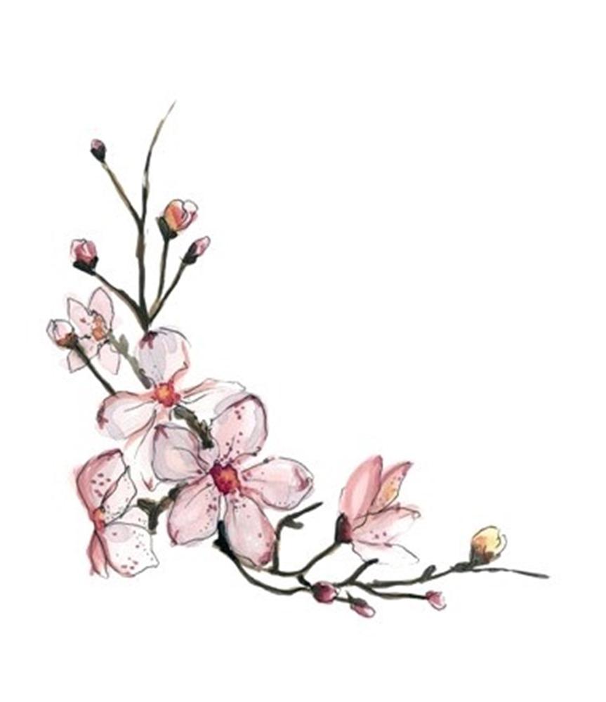 863x999 Red Cherry Blossom Tattoo Design