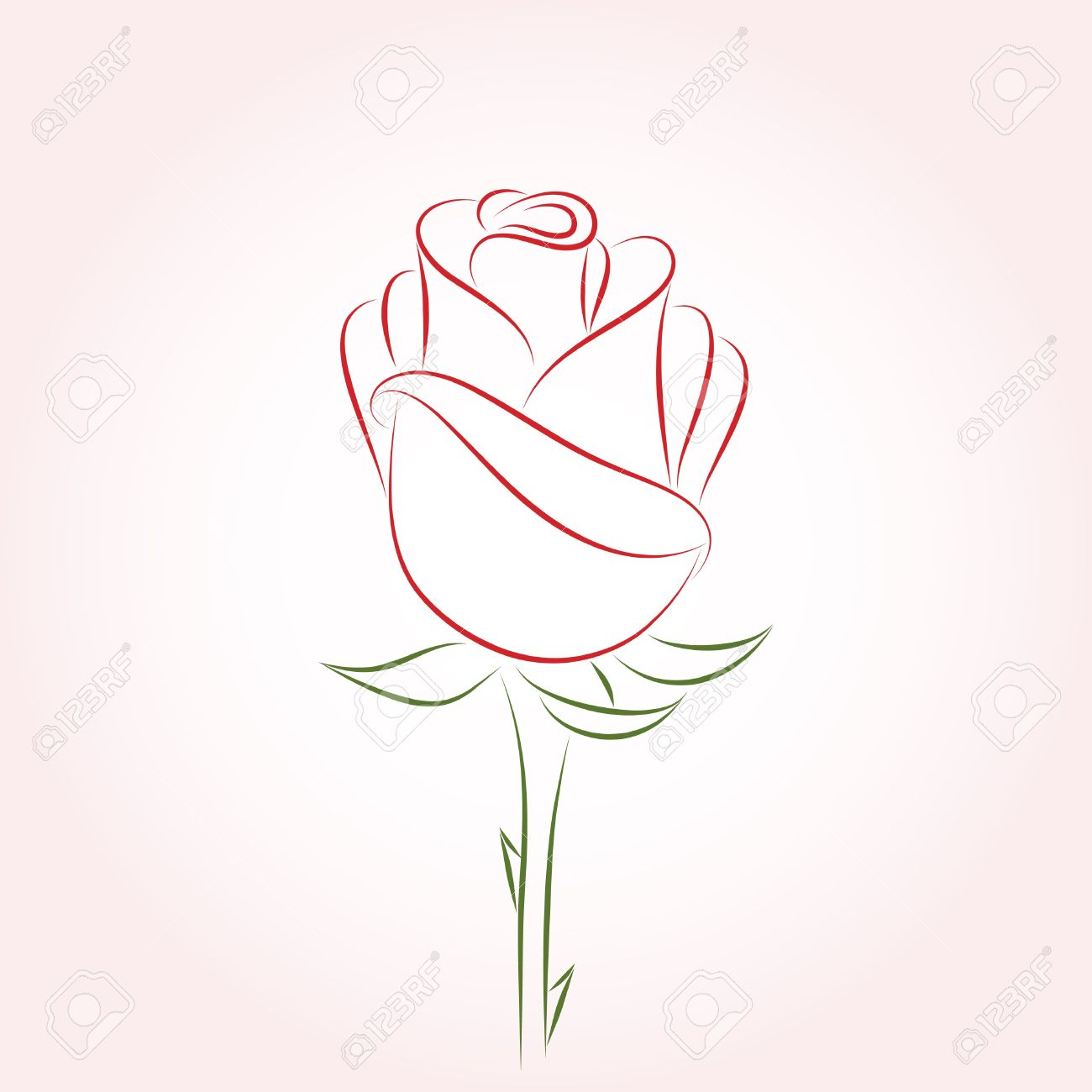 1300x1300 Single Red Rose On A Pink Background. Vector Illustration. Royalty