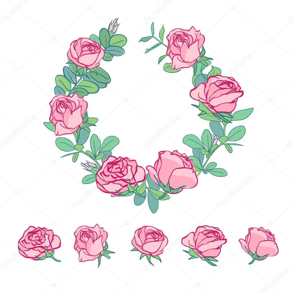 1024x1024 Single Roses Drawing Set Stock Vector Katya Bra