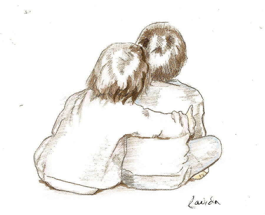 900x731 Brother And Sister Drawing By Janet Lavida
