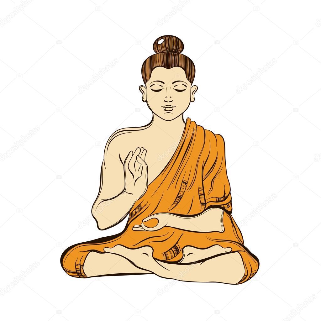 1024x1024 Hand Drawn Sitting Buddha In Meditation. Yoga Spirit. Sketch