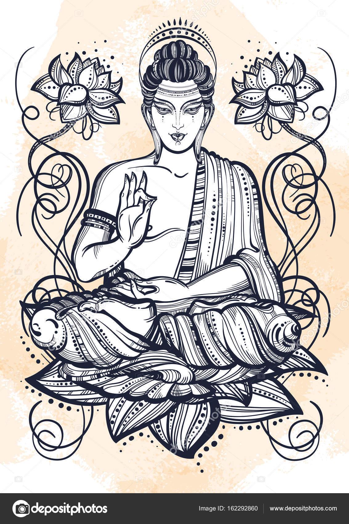 1133x1700 Sitting Buddha Over Lotus Flowers. Hand Drawn Beautiful Vector Art