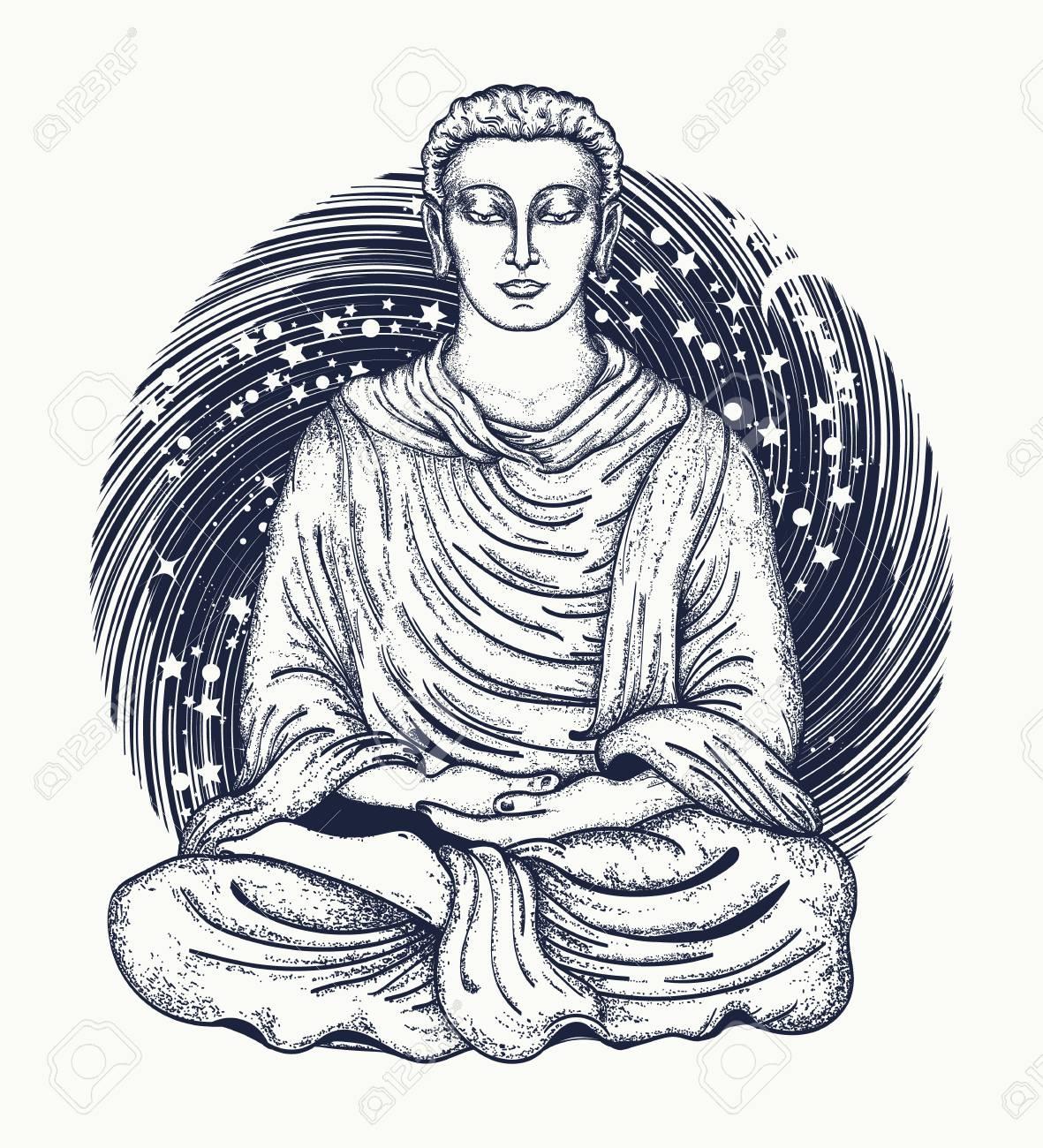 1181x1300 Space Buddha Tattoo Art. Religious Symbol Of Harmony, Spirituality