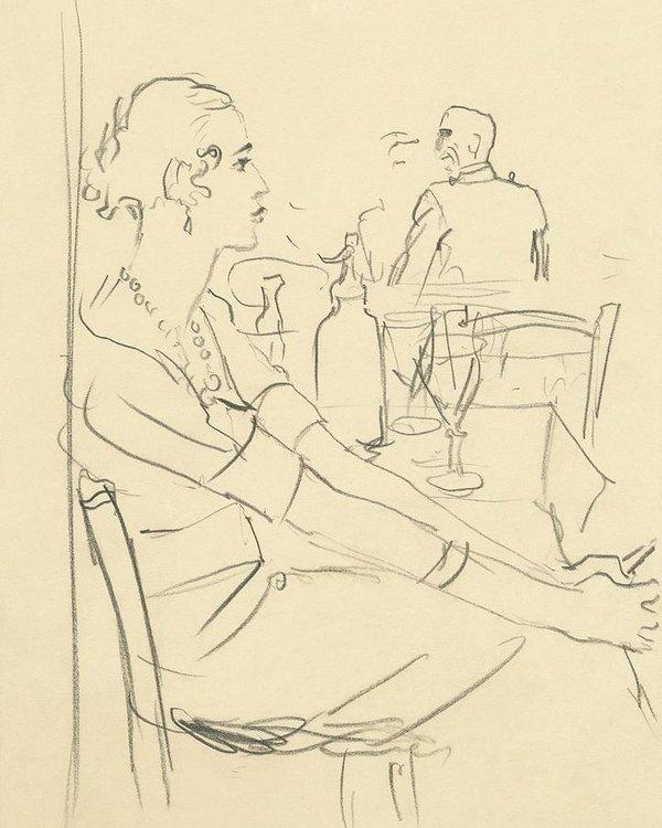 600x750 Illustration Of A Woman Sitting Down Art Print By Carl Oscar