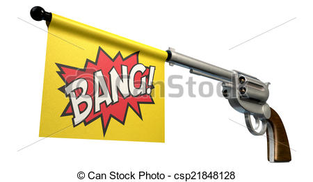 450x262 Pistol Bang Flag. A Six Shooter Gun With A Flag Coming Out Clip