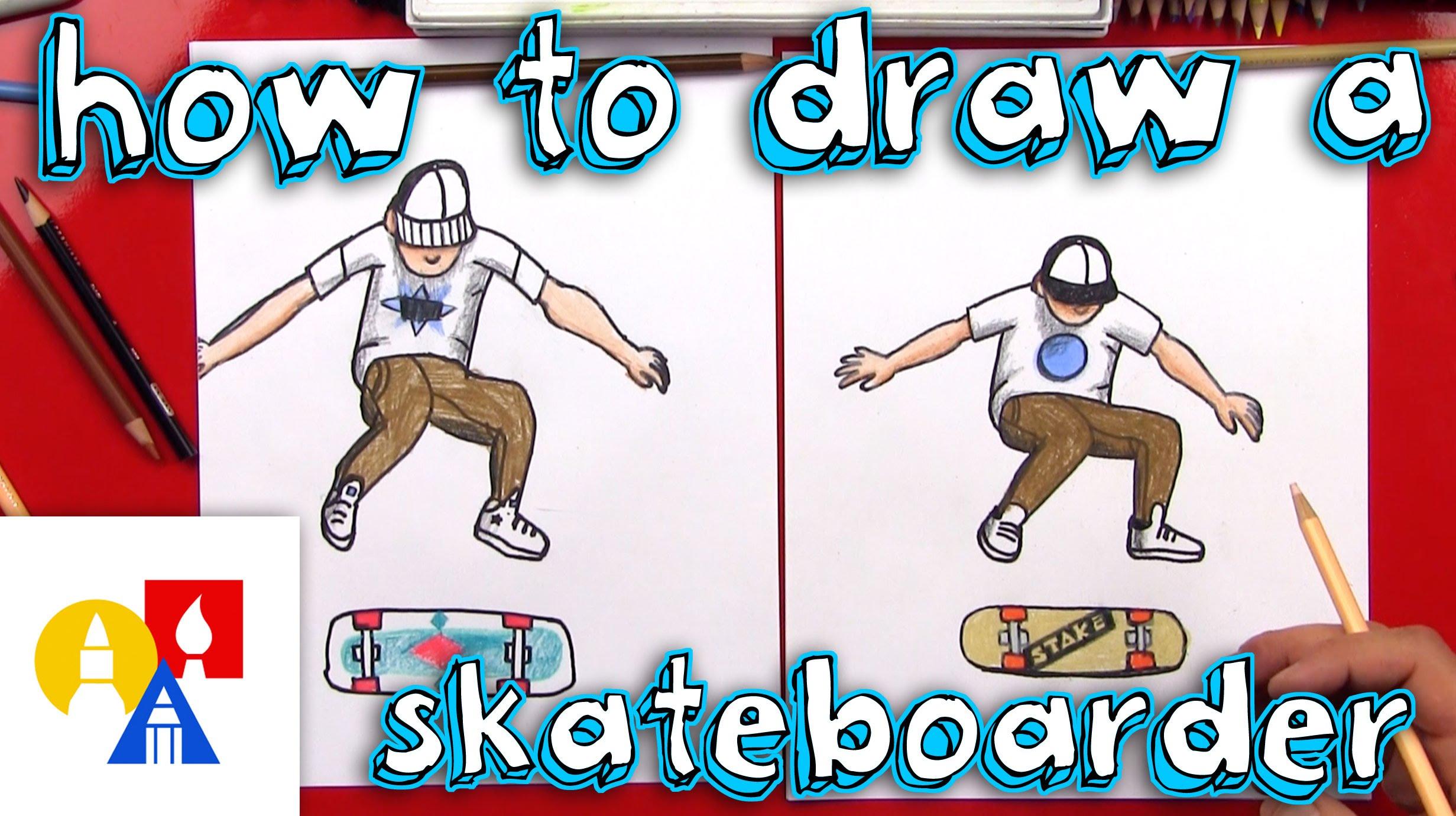 2463x1381 How To Draw A Skateboarder Doing A Kickflip