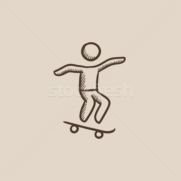600x600 Man Riding On Skateboard Sketch Icon. Vector Illustration Andrei