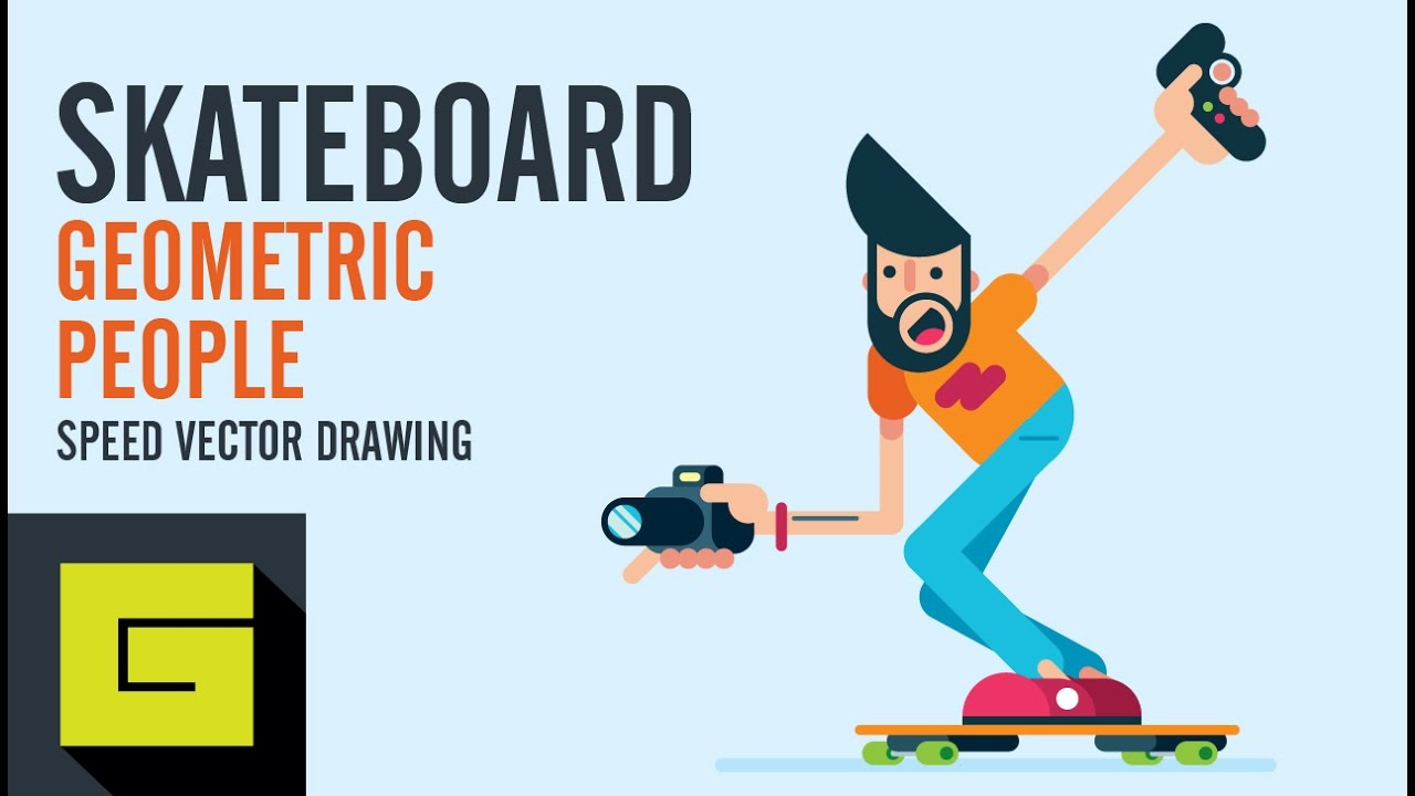 1280x720 Speed Drawing, How To Draw Flat Character, Electric Skateboard