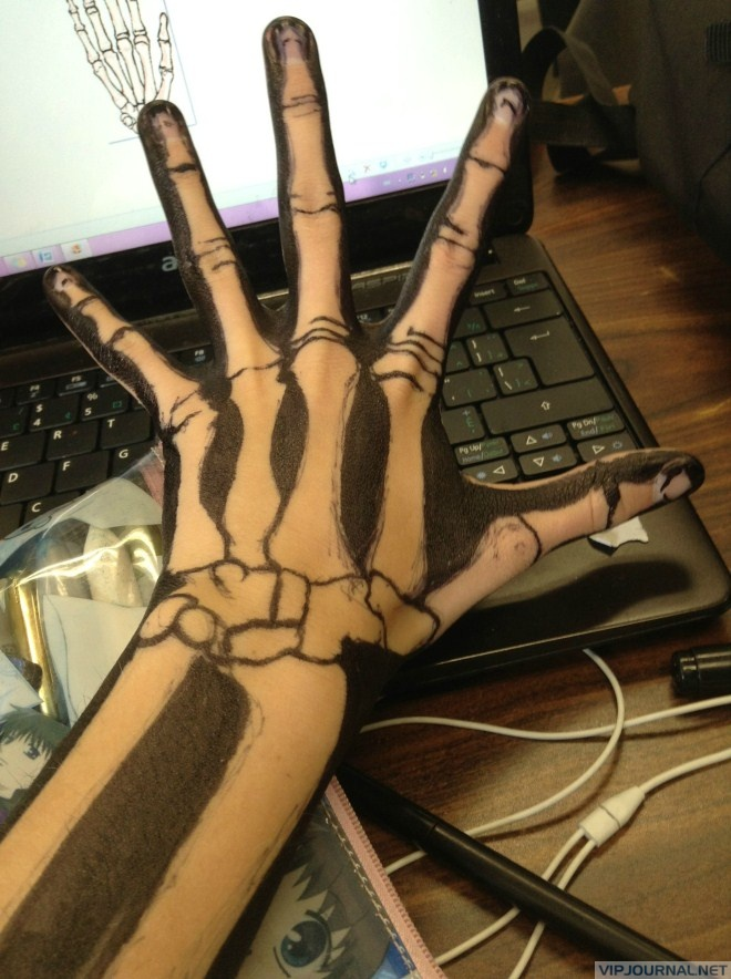 660x884 Skeleton Drawing On Hand Hope That's Not Permanent Marker