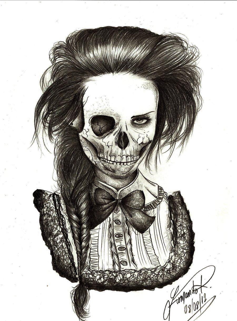 900x1219 Skull Girl By On @ Sugar