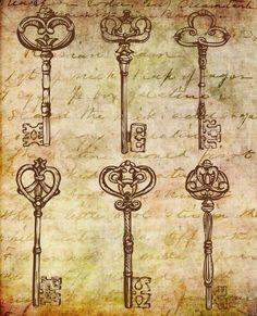 236x291 Set Of Vintage Key Drawings Key Drawings, Drawings And Key