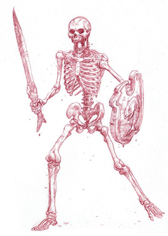 535x754 Dibujar Temibles Guerreros Esqueleto