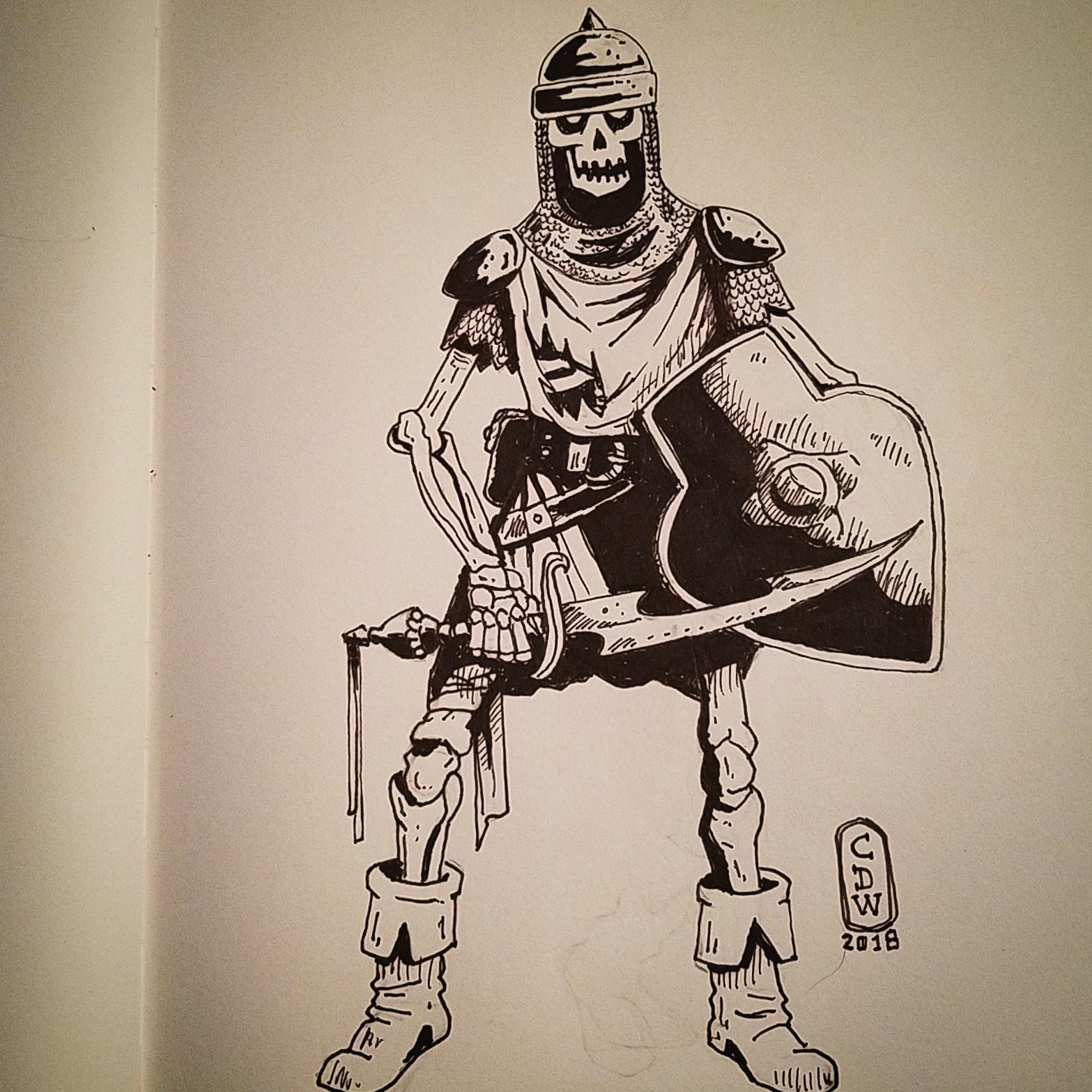 1567x1567 Drew A Skeleton Warrior With Dual Tip Sharpie.