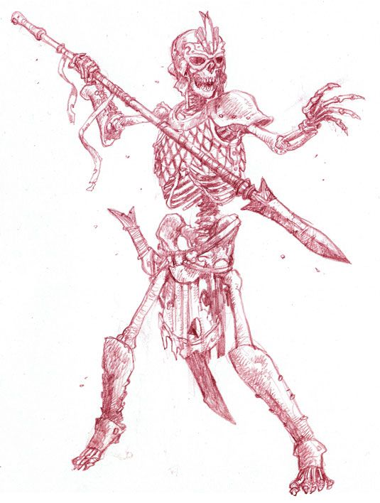 535x708 How To Draw Fearsome Skeleton Warriors Skeletons, Rpg
