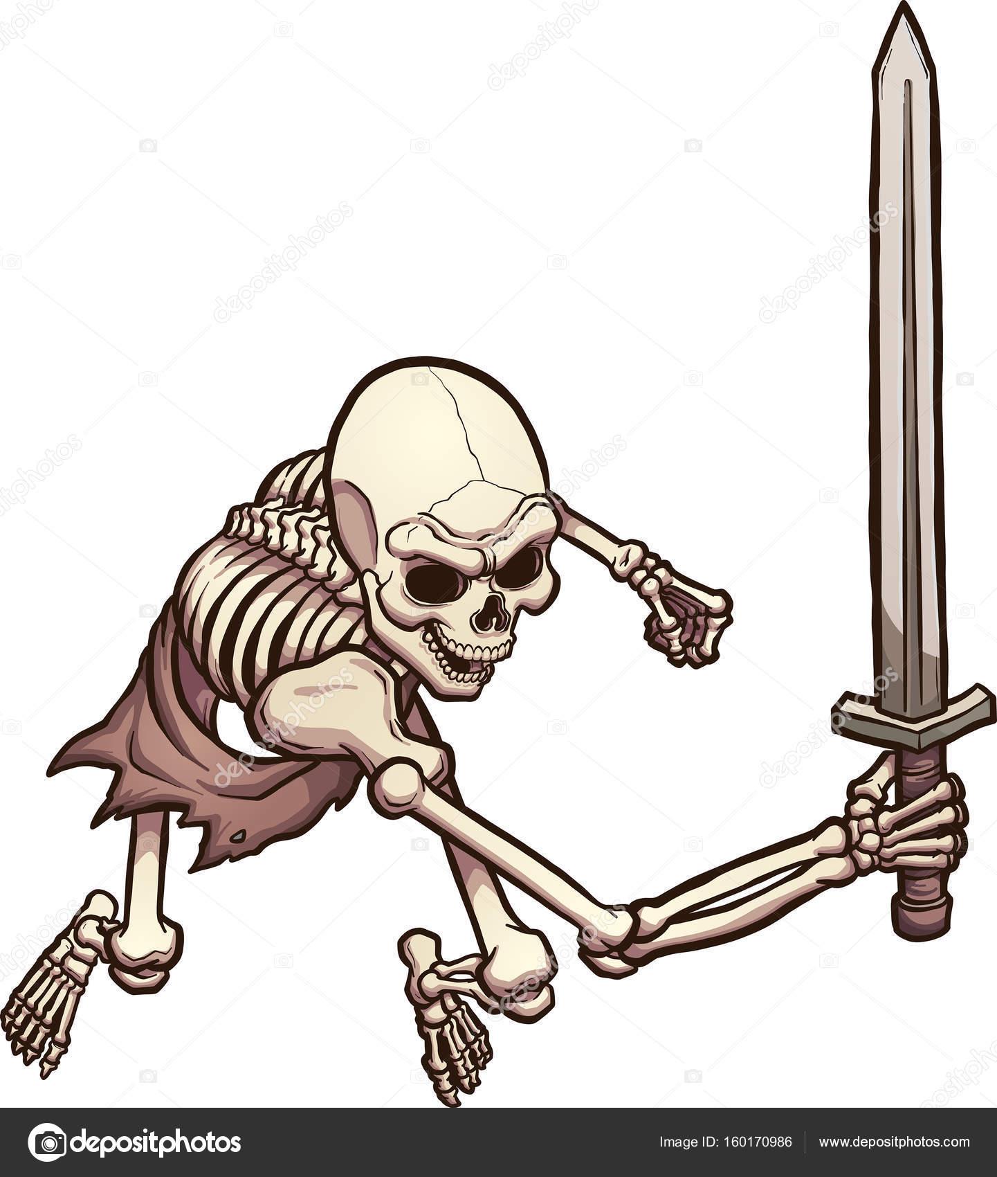 1441x1700 Skeleton Warrior With Sword Stock Vector Memoangeles