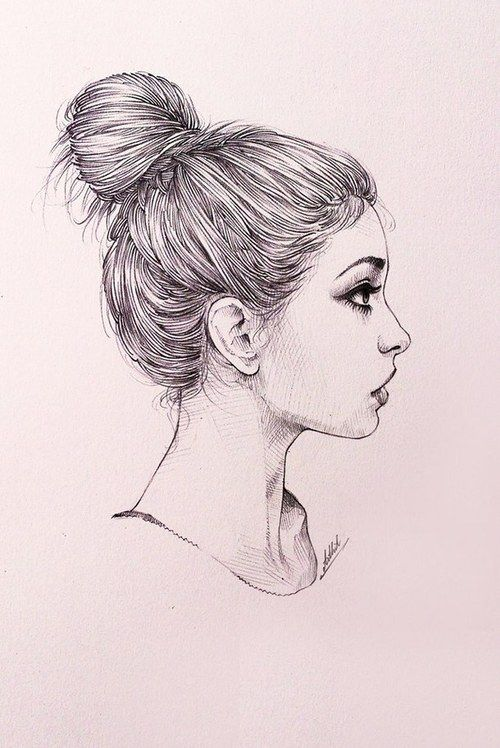500x748 Messy Bun Girl Sketch Art Work Drawings And Wallpapers And Art