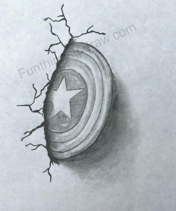 600x719 Captain America's Shield Pencil Sketch