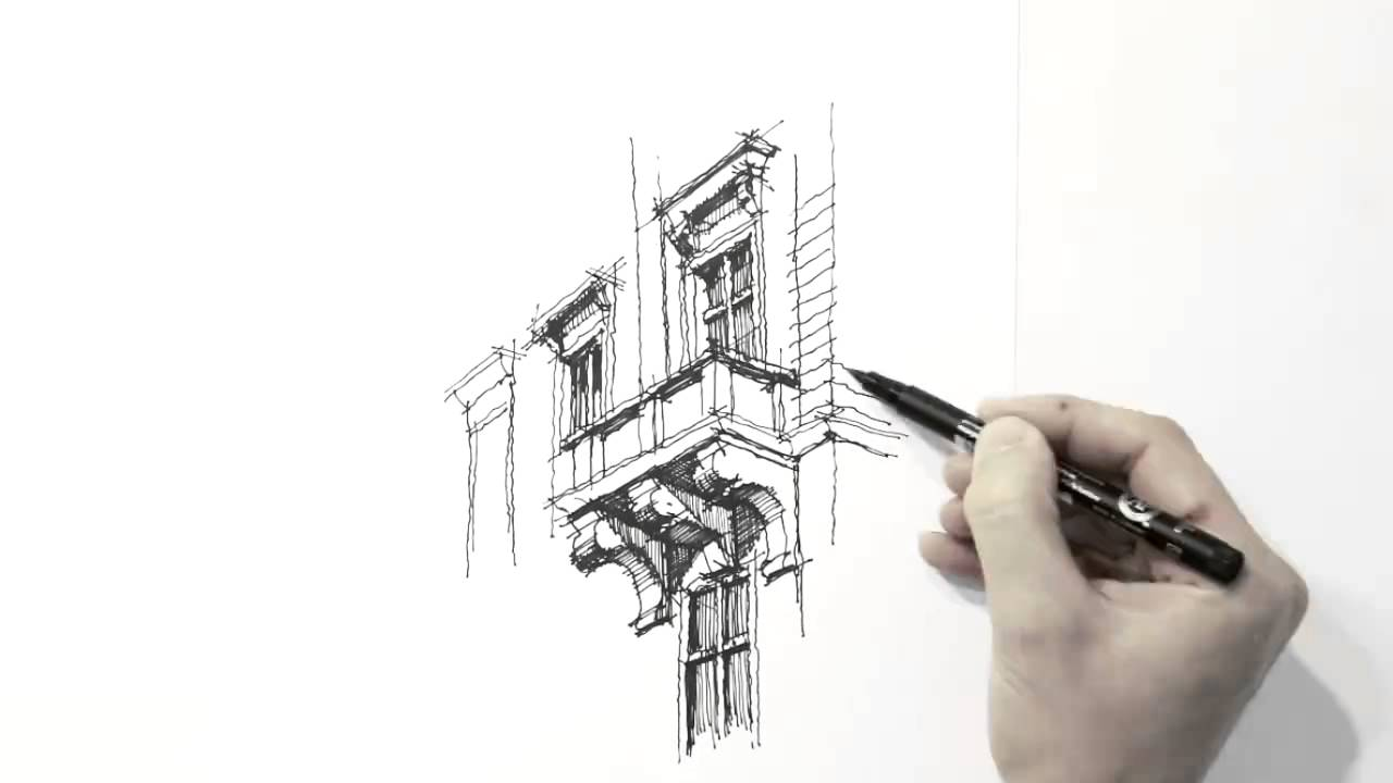 1280x720 Amazing Architecture Sketch Hand Drawing!! Must Watch!