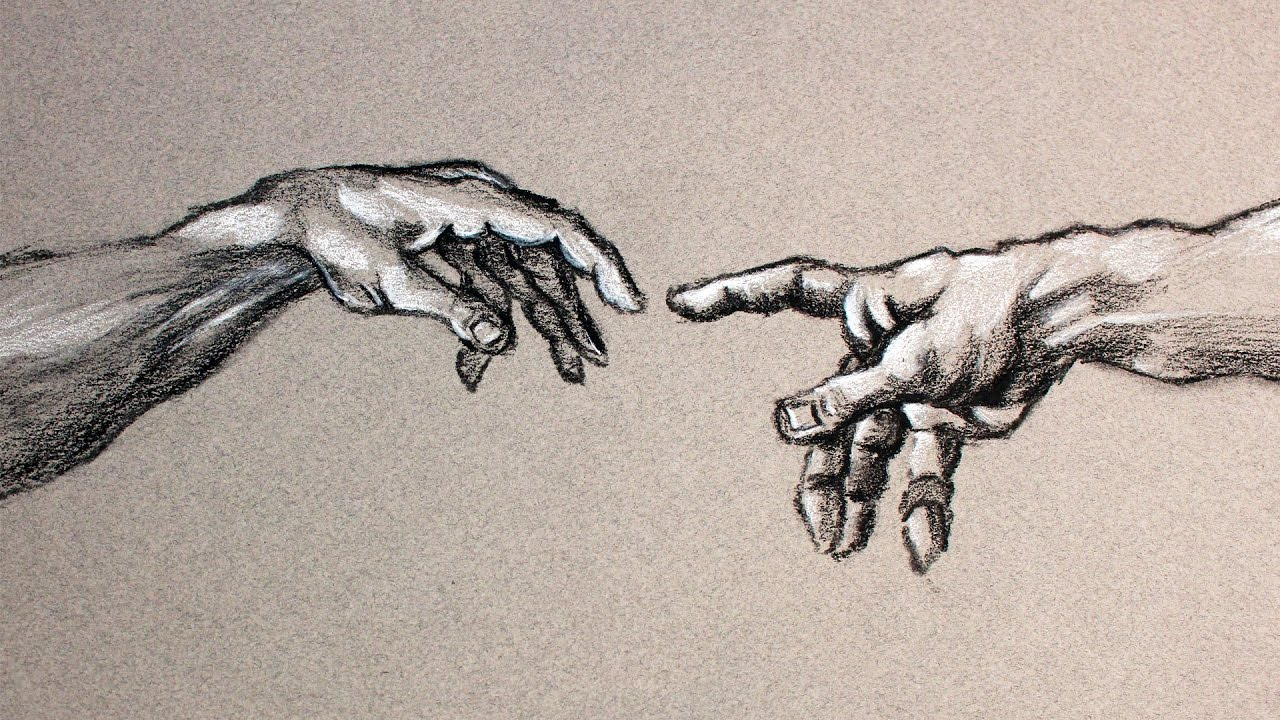 1280x720 Creation Of Adam Hands Drawn In Charcoal Process