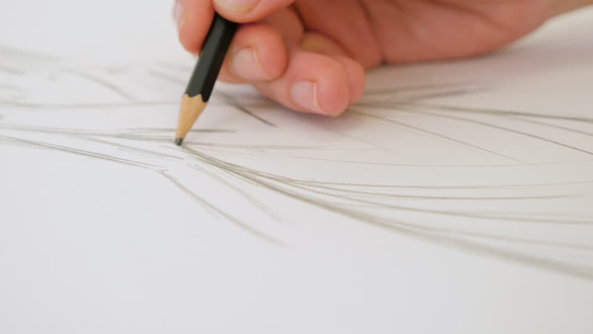 852x480 Female Artist's Hand Sketching Something With A Pencil On A Light