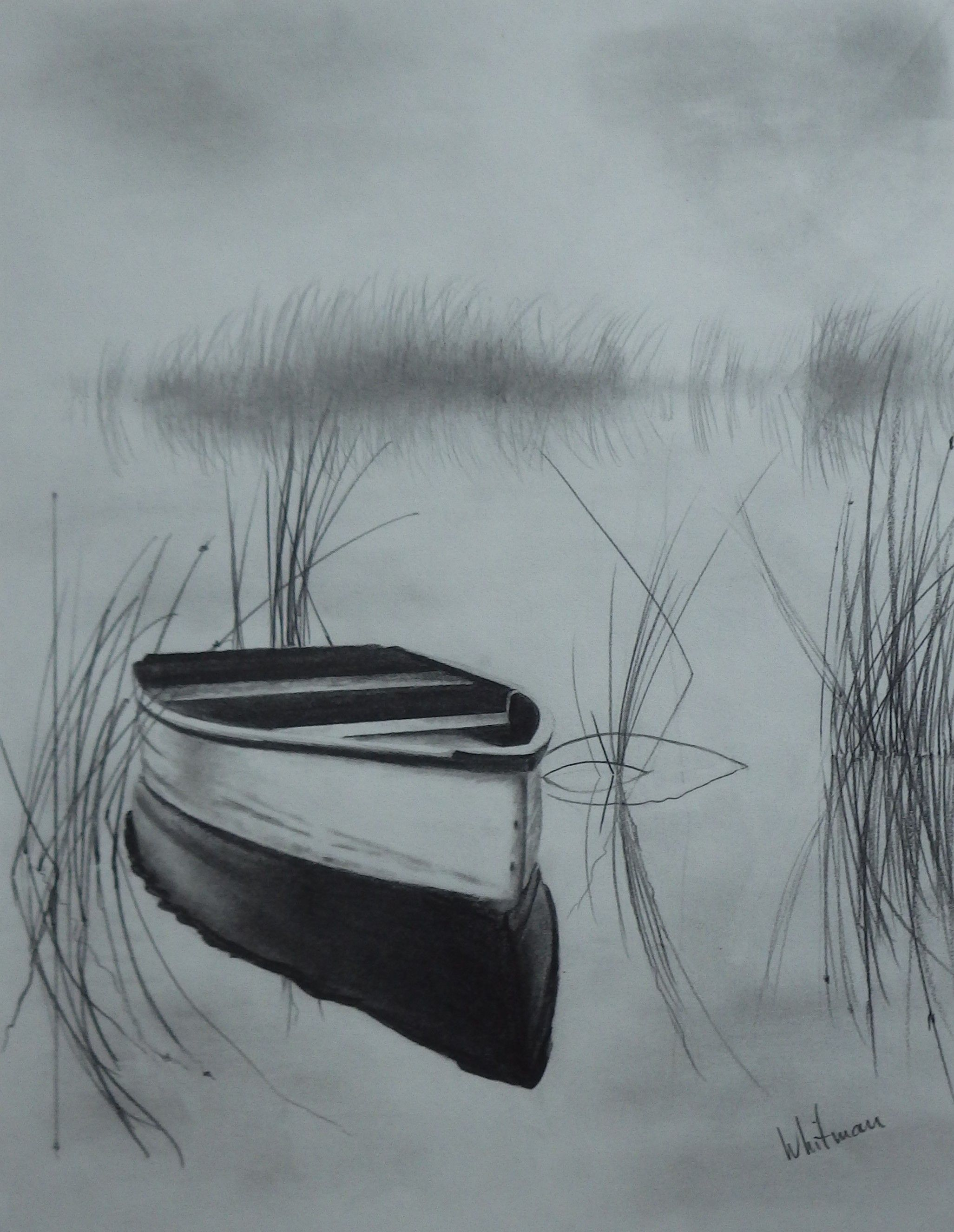 2053x2650 Misty Row Boat On The Lake, Reflections, Sketch. Original Art