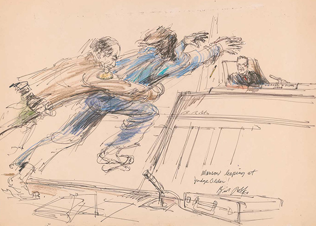 640x458 Rare Courtroom Sketches From Most Infamous Trials Where No