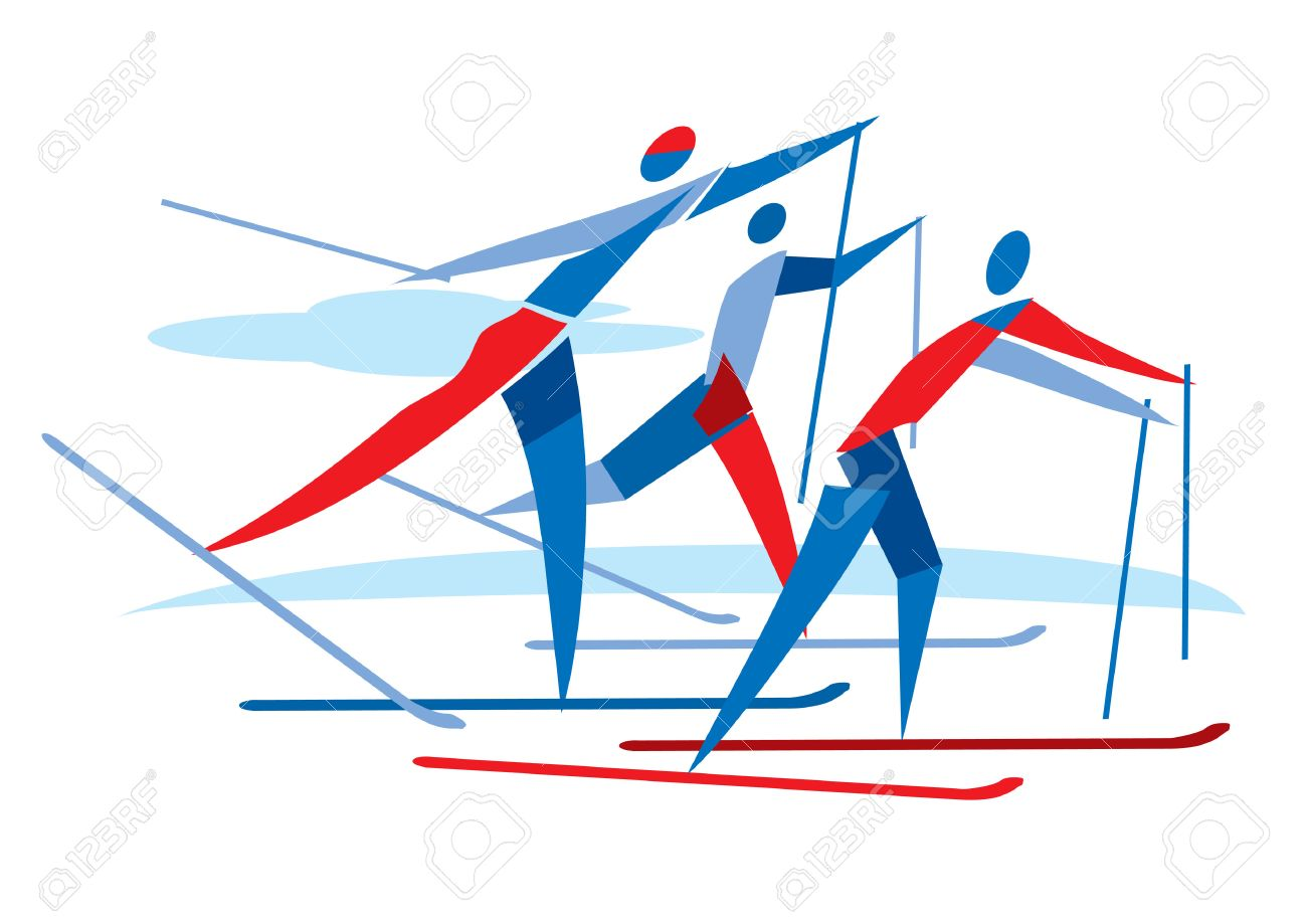 1300x919 Cross Country Skier Race. A Stylized Drawing Of Cross Country
