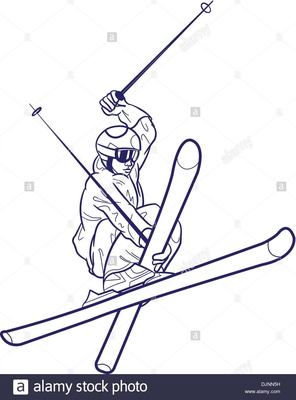 1030x1390 Line Drawing Of Person Skiing Stock Vector Art Amp Illustration