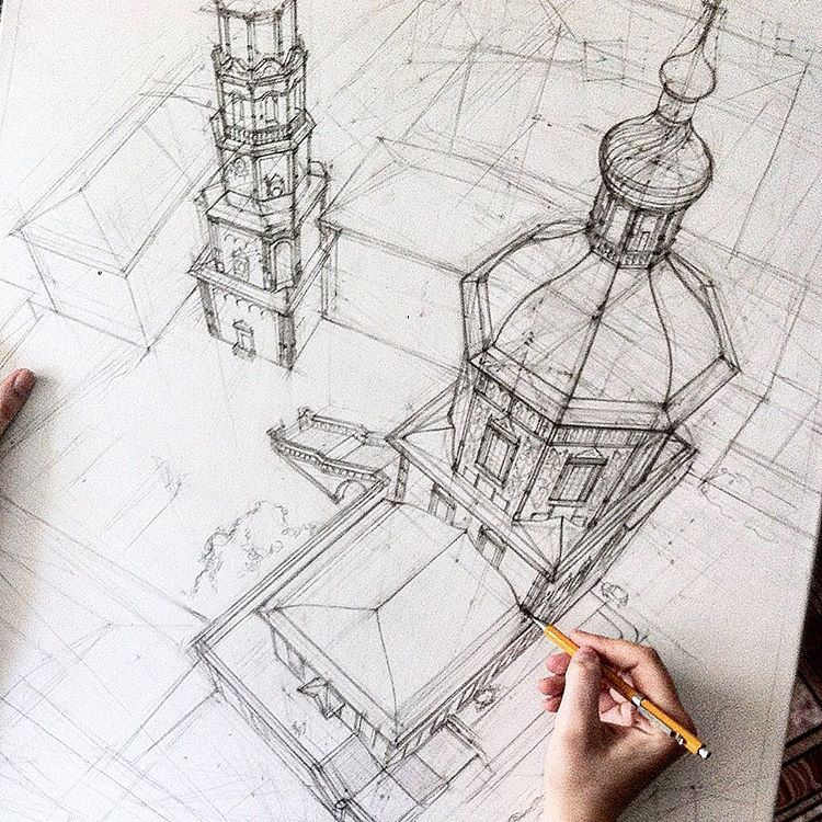 750x750 Freehand Architectural Sketches Demonstrate Immense Skill