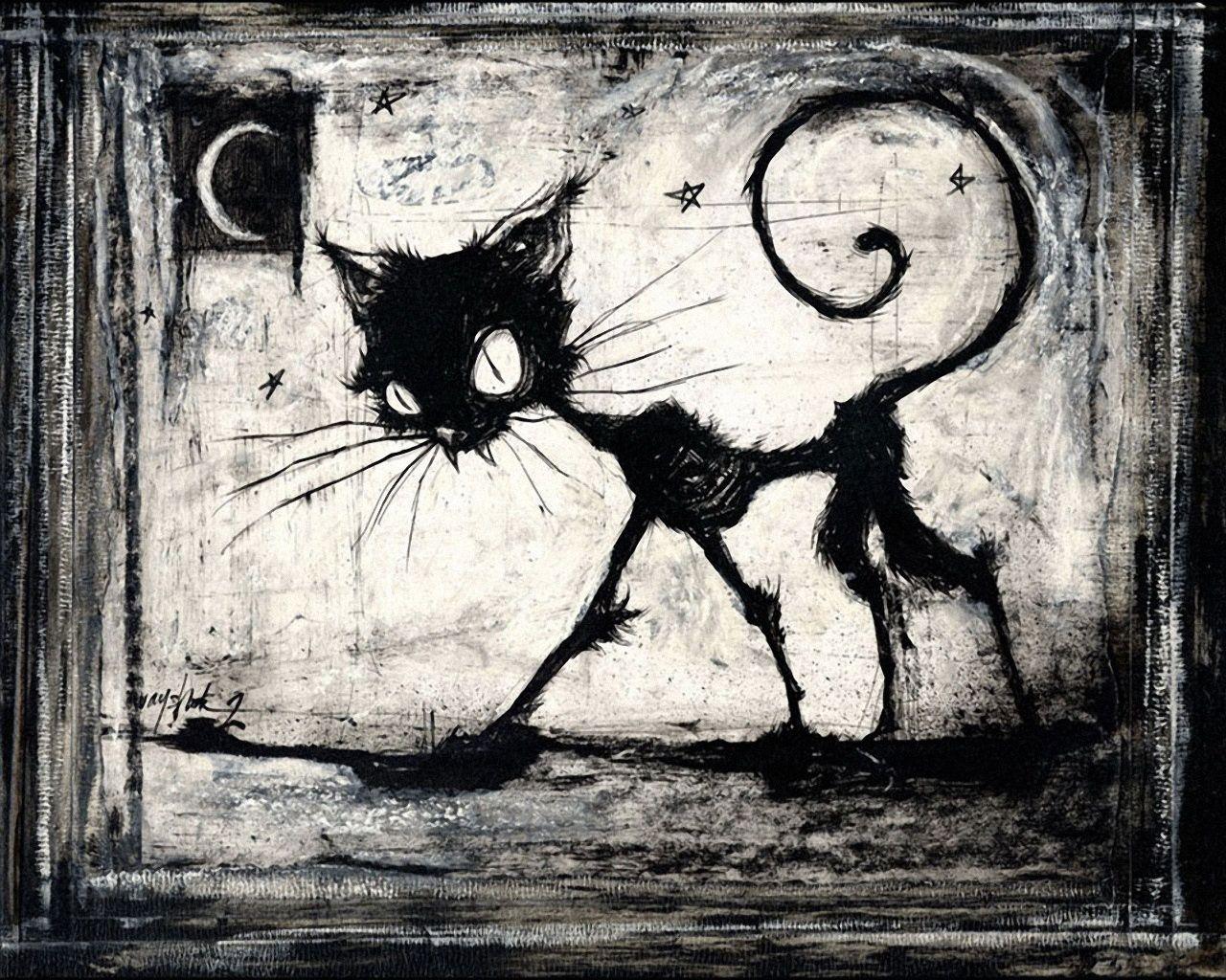 Skinny Cat Drawing