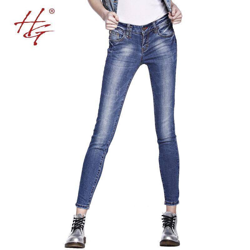 800x800 Hg x05 Fashionable Elastic Skinny Jeans Women Mid Waist Blue Jeans