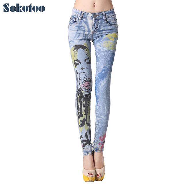 640x640 Sokotoo Women's Beauty Drawing Colored Printed Skinny Jeans