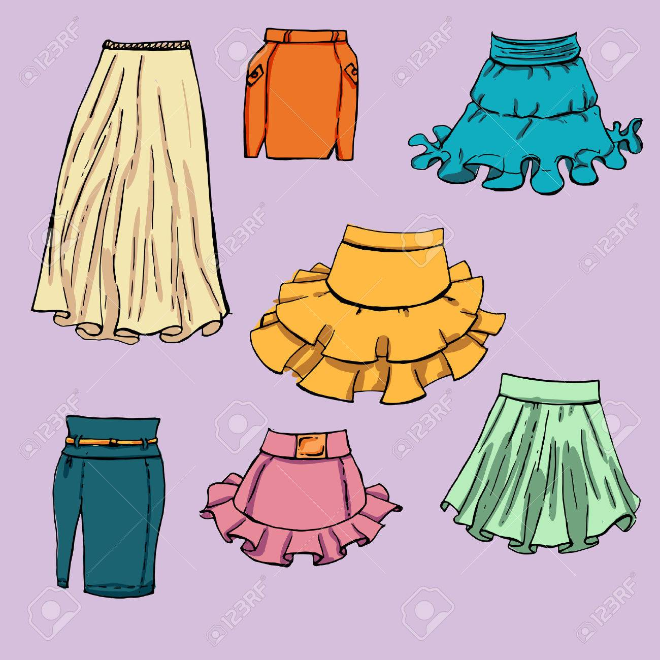 1300x1300 Fashion Set. Various Skirts. Illustration In Hand Drawing Style