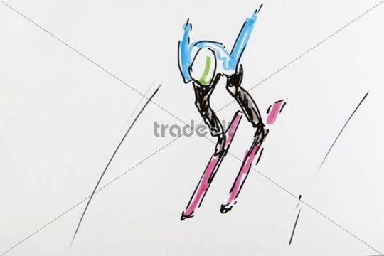 540x360 Drawing, Ski Jumping, Artist Gerhard Kraus, Kriftel
