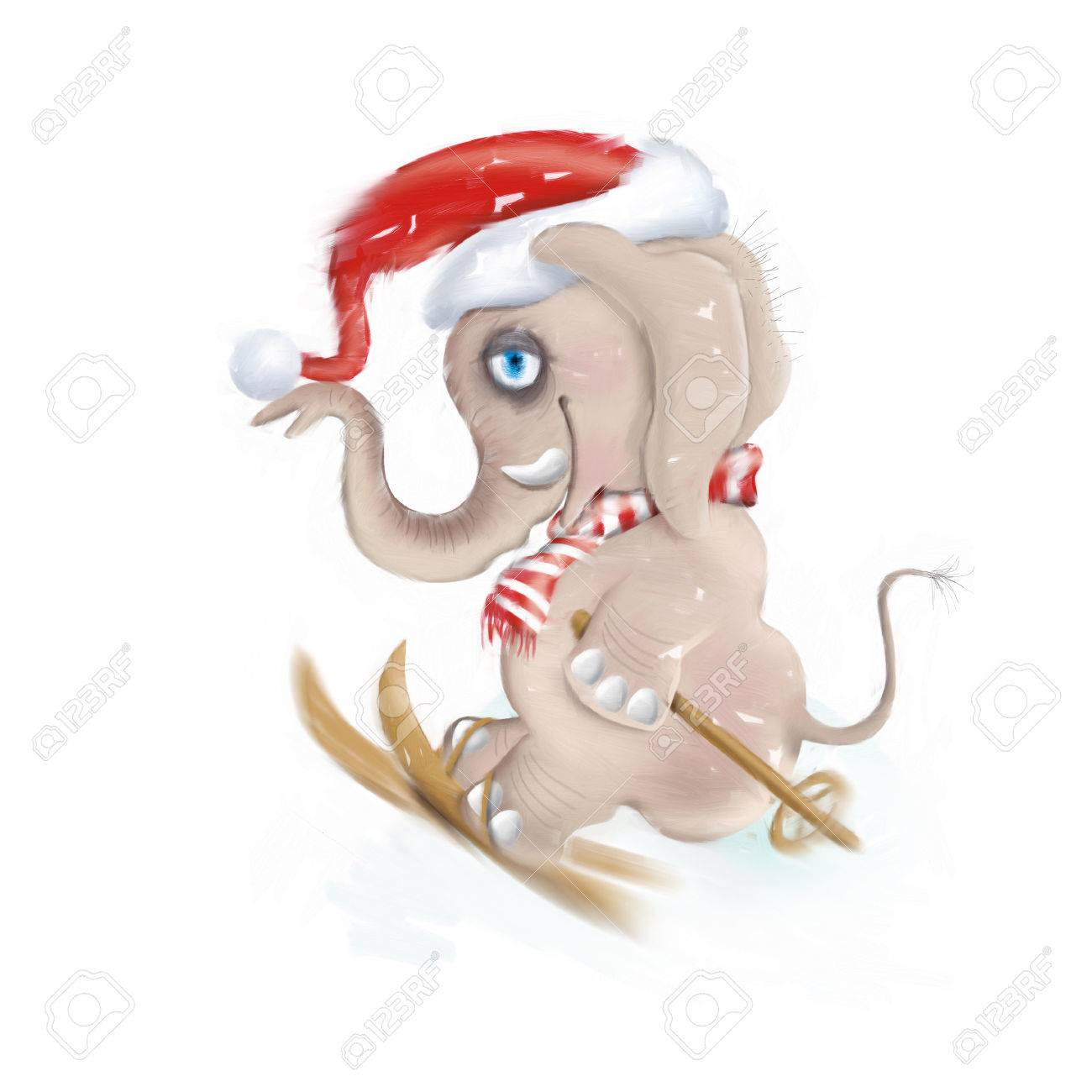 1300x1300 Elephant A Flying On Skis. Drawing Elephant. Stock Photo, Picture