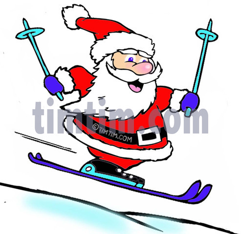 493x480 Free Drawing Of A Skiing Santa From The Category Christmas