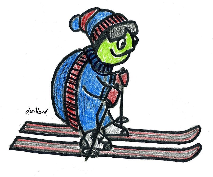 900x749 Turtle On Skis Drawing By Deborah Willard