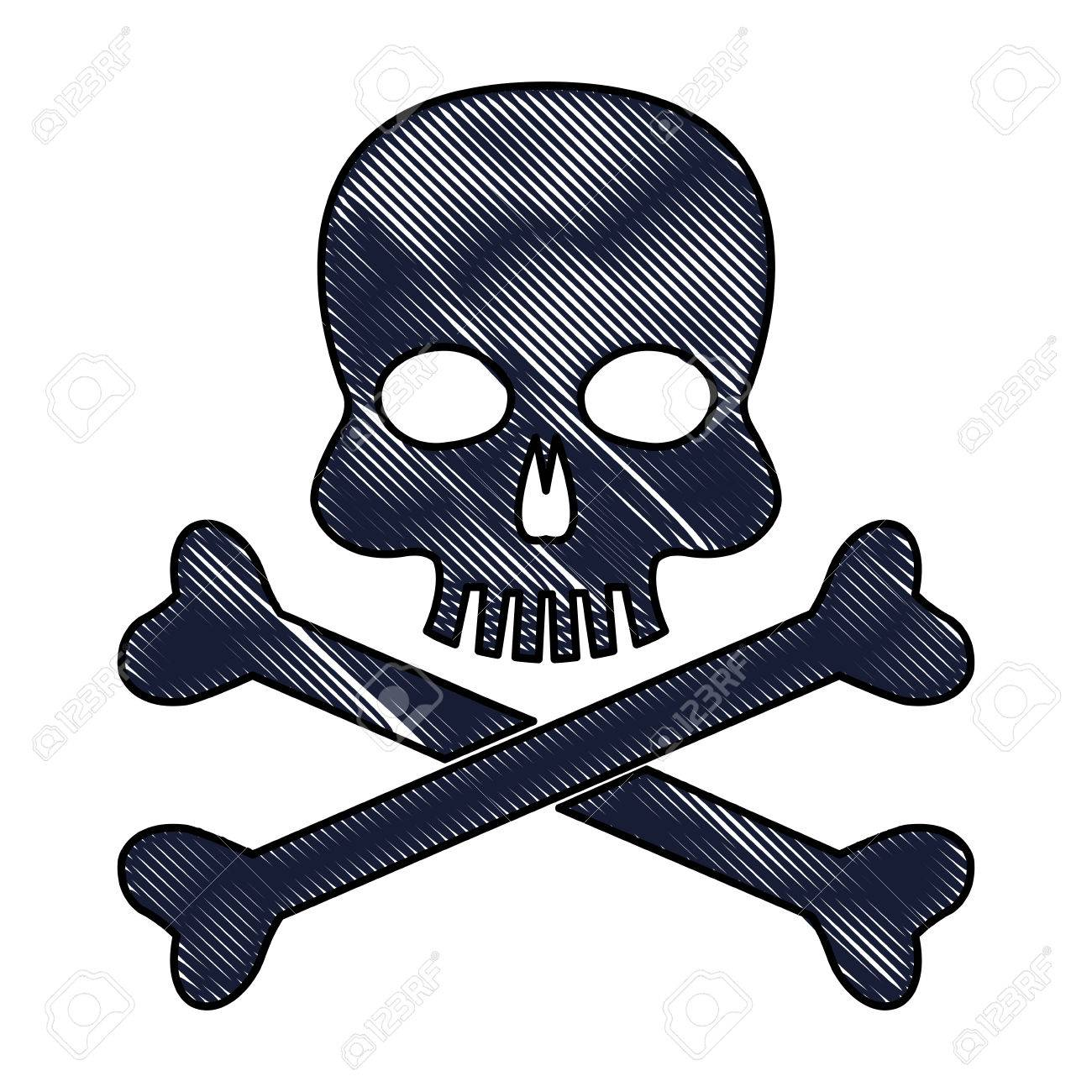 1300x1300 Drawing Skull Bones Danger Poison Laboratory Vector Illustration