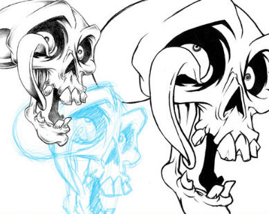 389x310 How To Draw A Skull 50 Tutorials Drawn In Black