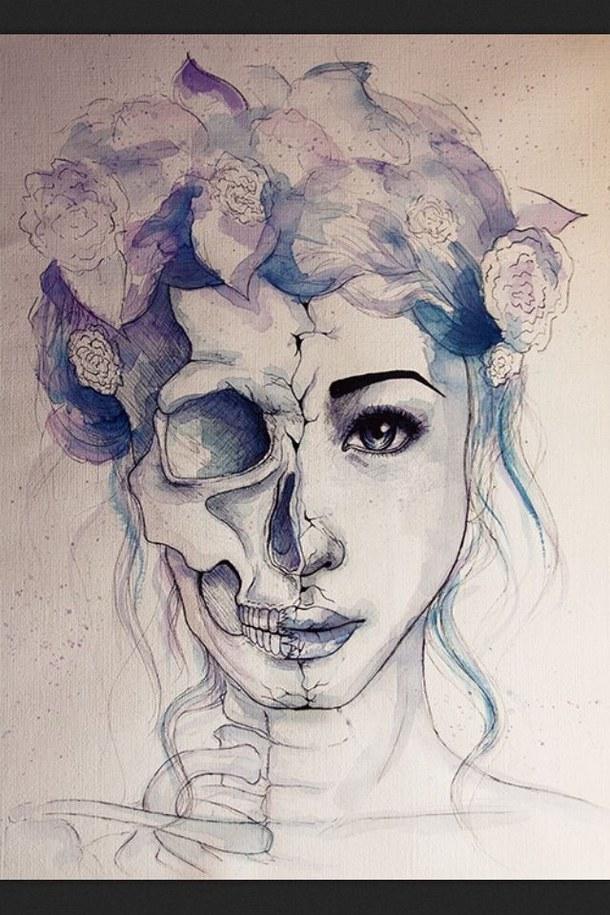 610x915 Skull Bones Pastel Art