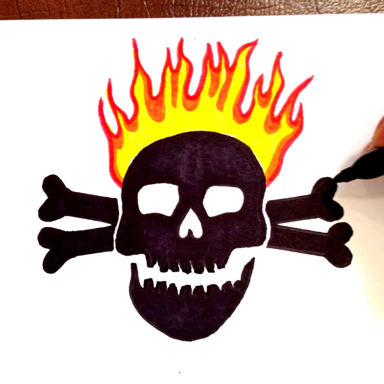 1280x1280 How To Draw A Black Skull With Crossbones With Flames