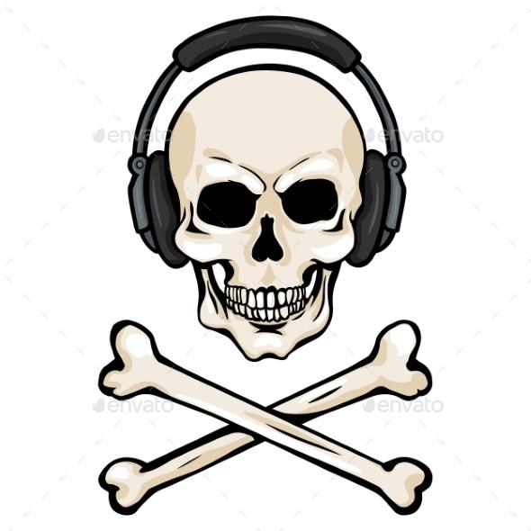 590x590 Skull With Headphones And Cross Bones