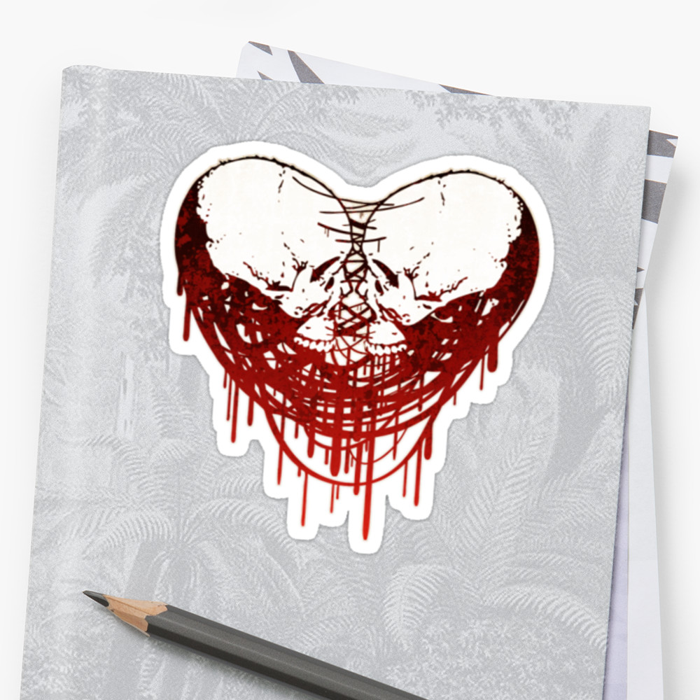 1000x1000 Skull Heart (Smart) Stickers By Uey333 Redbubble